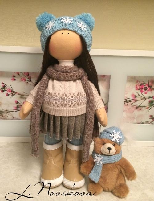 Photo of Интерьерная кукла 40 см  Выполнена из кукольного трикотажа Белый ангел. Набита холлофайбером