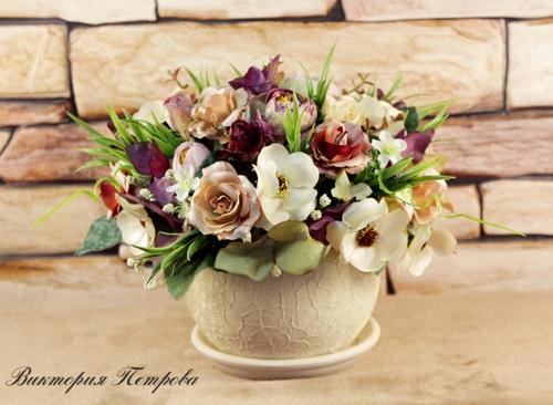 Фото для ШЕЛК Интерьерная композиция с розами, гортензией, анемонами, камелией. Размер: 17*20 см.