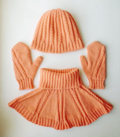 Фото для комплект вязаный персиковый