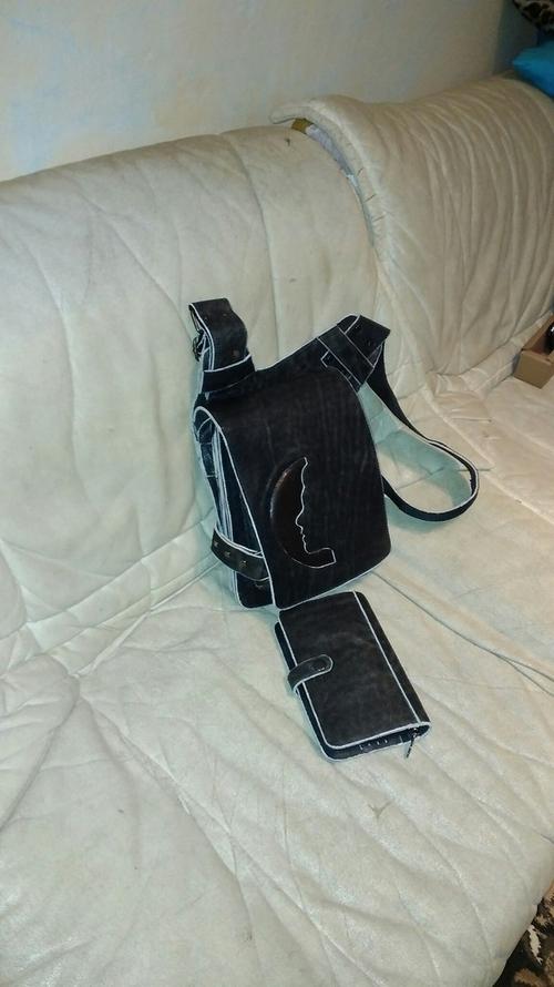 Фото для Мужской комплект из натуральной винтажной кожи: сумка и клатч.