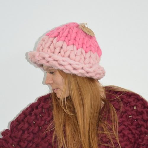 Фото для Модная вязаная шапочка 100% мериносовая шерсть
