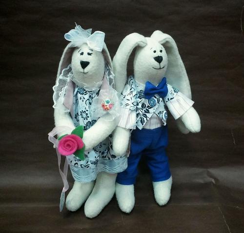 Фото для Свадебная парочка зайчиков тильда Василий и Василиса ручной работы.