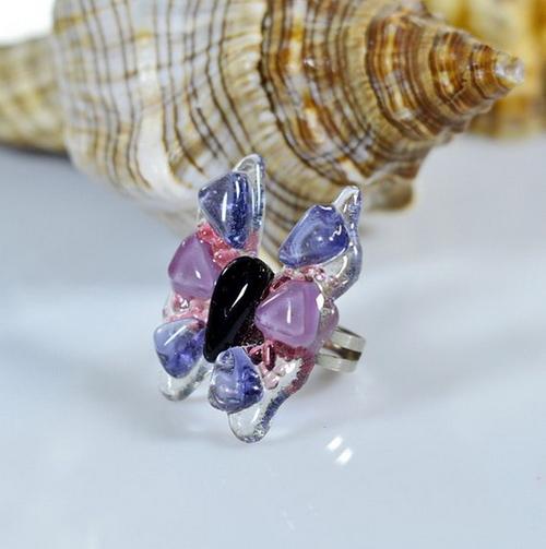 Фото для Кольцо из витражного стекла в форме бабочки, безрамное