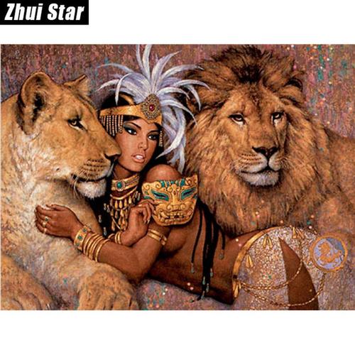 Фото для Картина Девушка и львы без рамки