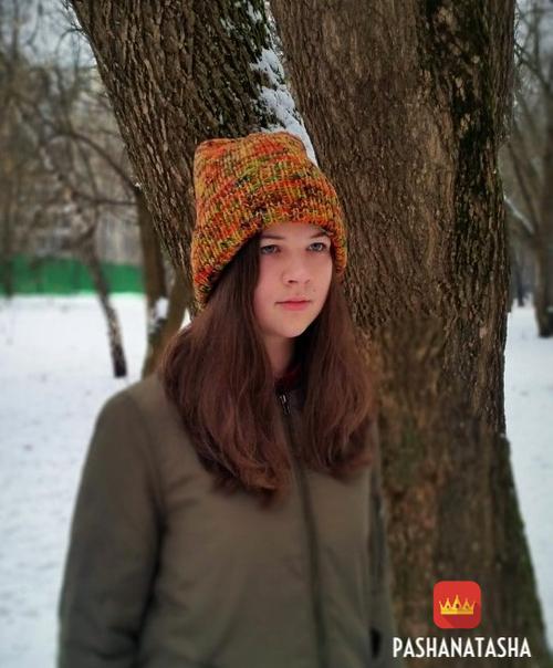 Фото для Вязаная шапка из пряжи ручного крашения