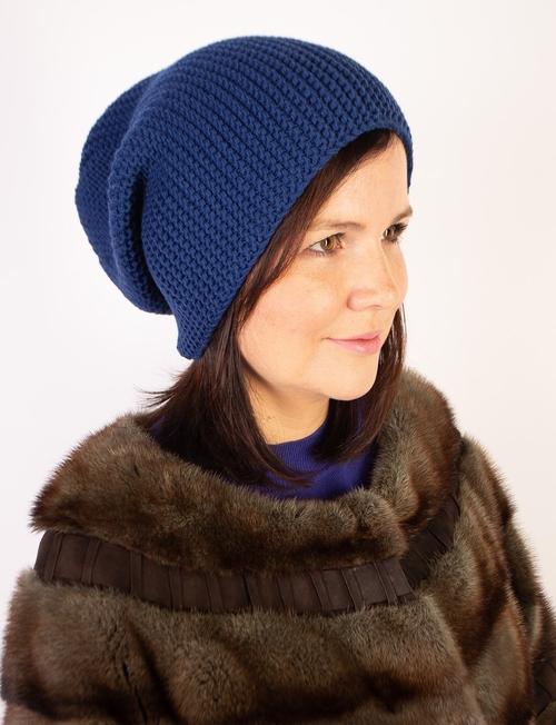 Фото для Синяя вязаная шапка бини для женщин