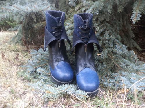 Фото для ботинки стильные унисекс войлок + кожа очень очень теплые