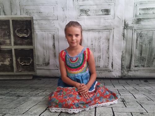 Фото для Этно Платье Русский Стиль Хлопок Ручная вязка Кружево