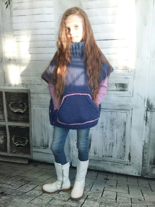 Photo of Пончо для девочки меринос, ручная вязка, вязание на заказ